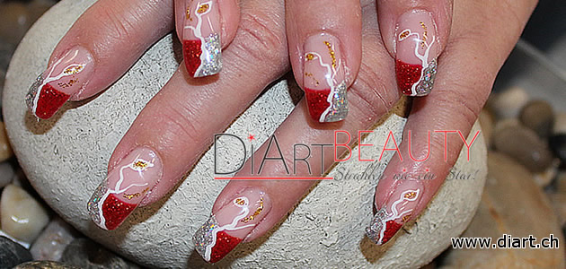 red & silver gitter nails