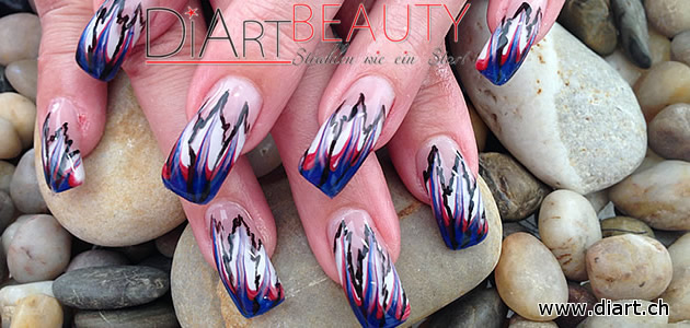 crazy nails, blue red white black